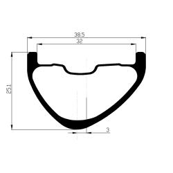 Rear disc road clincher wheel with ACROS NINETEEN RD DISC hub